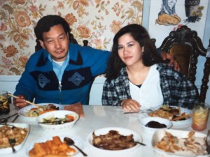 Susan and her father having Thanksgiving dinner near Vassar at her cousin's house in Fishkill, New York, 1989