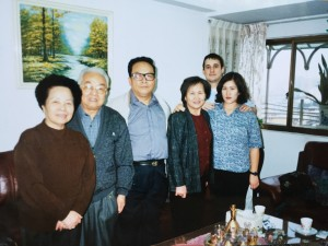 Susan with her husband Brian and her aunts and uncles during her trip to Taipei, Taiwan, in December 2000 to attend her father's funeral.