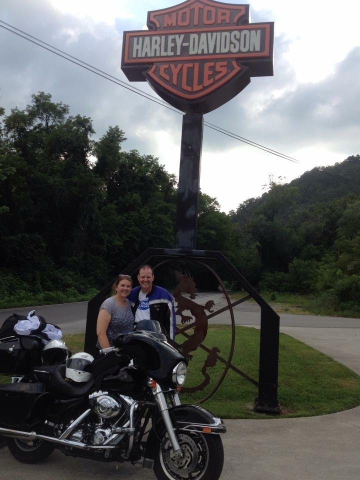 Elizabeth and Troy on a motorcycle trip.