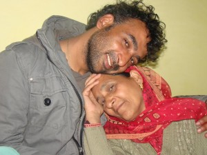 Fayaz with his mother