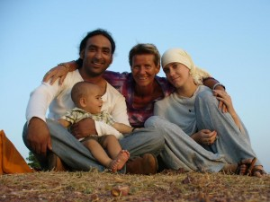Fayaz, Jo and their son with Jo's mother