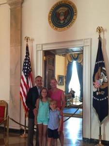 The Goldsamts: Seth and Nina with their kids Anna and Mathias on a recent visit to The White House.