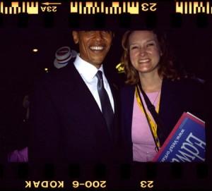 Karin with then-Senator Barack Obama